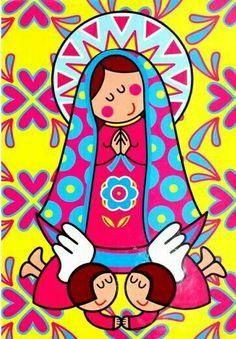 Resultado de imagem para mother mary art lesson for kids Art Lessons For Kids, Holy Mary, Blessed Virgin Mary, Mexican Folk Art, Blessed Mother, Mother Mary, Sacred Art, First Communion, Kirchen