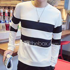 Masculino Camiseta Poliéster Listrado Manga Comprida Casual-Preto / Branco de 2017 por R$43.91