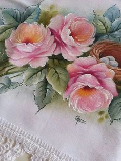 Gorgeous Painted Roses on Linen