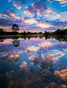 Lake and colourful sky