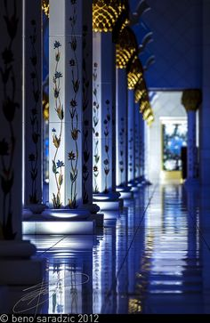 Ornate marble columns at the Sheikh Zayed Grand Mosque in Abu Dhabi, UAE
