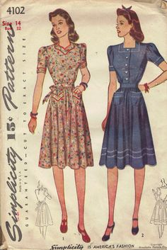 Simplicity 1940s Sewing Pattern Depression Era Dress Casual Housedress Sweetheart Neck Short Sleeves Tie Waist Uncut FF Bust 32. $16.00, via Etsy.
