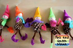 * Homemade Christmas Crafts: Pine Cone Elves