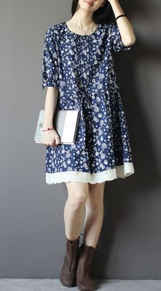 Floral cotton dress. Blue floral cotton sundress plus size cotton shift dresses