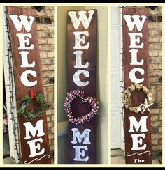 6 foot Welcome Sign - Perfect for Front Door - Housewarming - Gift - Wreath Not Included - pallet creation - no link Welcome Signs Front Door, Wooden Welcome Signs, Front Porch Signs, Wood Signs, Pallet Signs, Wreaths For Front Door, Home Crafts, Diy Home Decor, Diy And Crafts