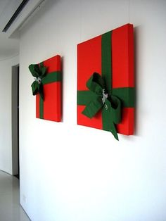 Wrapped Pizza Boxes -- Fast Xmas decore! you can wrap your art for a few weeks to give the room a festive look also !!!