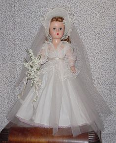 vintage hard plastic Bride Doll of the 1950's.  I had, and still have, this doll.  She is one of my favorites!