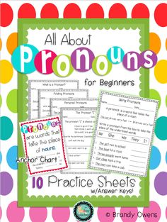 Introduce students to pronouns using this set of pronouns for beginners practice sheets! Set of 10 practice sheets (with answer keys! Kindergarten Language Arts, Teaching Language Arts, Kindergarten Writing, Speech Language Pathology, Speech And Language, Teaching English, Literacy, Nouns And Pronouns, Teaching Pronouns