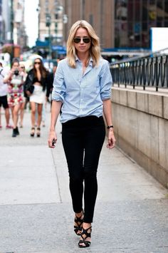 Elin Kling in aviators, a striped button-down shirt, black jeans & heeled sandals #style #fashion #streetstyle