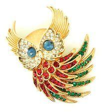 1960's TRIFARI FOR CIRO FIREBIRD SERIES OWL FIGURAL RHINESTONE BROOCH PIN