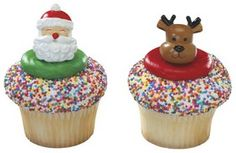 Jolly Santa and Reindeer Cupcake Rings