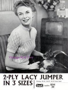 Lacy Short or Long Sleeved Jumper - - of Vintage Ladies Knitting Patterns Jumper Knitting Pattern, Jumper Patterns, Knitting Patterns Free, Hand Knitting, Knitting Machine, Pdf Patterns, Knitting Ideas, Vintage Knitting, Vintage Crochet