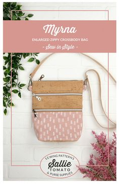 The Myrna Zippy is the enlarged pattern for the Zippy Cross-body Bag. The finished size is wide, high, and deep. This bag features an adju Cork Fabric, Fabric Gifts, Purse Patterns, Sewing Patterns, One Bag, Fashion Sewing, Book Crafts, Pattern Fashion, Sally