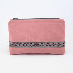 Pink Linen Cosmetic Zipper Pouch   Zipper Bag  Bohemian