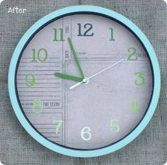 Clock makeover with paint chips and Catalina Mist spray paint.