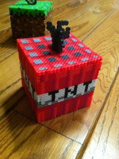 3D Minecraft TNT box perler beads by aricaerica