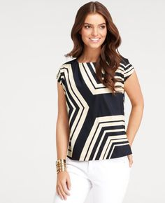 Ann Taylor Partition Print Top in Dark Navy, $78