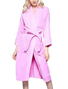 Clearlove Unisex Long Sleeve Cotton Toweling Gown Kimono Spa Bathrobe Sleepwear Pink S ** Click image to review more details.