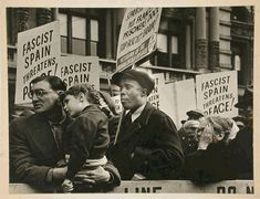 "Spanish Civil War demonstration in New York. Press photo. Photograph by ""Alexander, 177 Thompson Street, New York."""