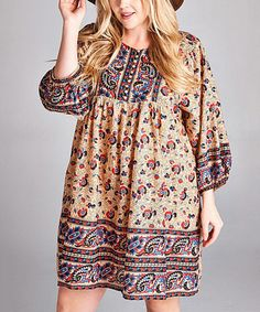 Another great find on #zulily! Beige Paisley Peasant Dress - Plus #zulilyfinds