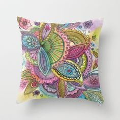 Fairground Paisley Throw Pillow by Sarah Travis - $20.00 Pretty swirly floral paisley in candy colours. Cerise, lime, lemon, turquoise, lilac and sugar pink with fine black in outlines. Watercolour and ink. Home, style, art, design, gifts.