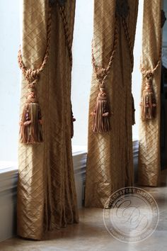 Rows of drapery featuring a quilted texture silk drapery, tassel tie-back details. Notice the tiebacks are on each side of the drapery panel. Drapery Panels, Drapes Curtains, Large Curtains, Drapery Designs, Drapery Ideas, Window Treatments Living Room, Beautiful Curtains, Custom Drapes, Passementerie