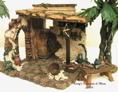 "FONTANINI ITALY 5"" RETIRED CARPENTER'S SHOP w/TABLE NATIVITY VILLAGE 55547 MIB #Fontanini"