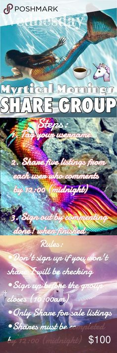 """🦄Wednesday Share Group🦄 ✨🦄Welcome to Mystical Morning                       Share Group! 🦄✨ Directions: Please share Five listings from each user who comments by midnight. Sign up closes at 10:00am 😘 Comment """"New"""" next to your name if you're new! 😊💗 If you have any questions, comments, or concerns please ask in the Q+A listing on my page instead of here If you can't complete shares let me know and I'll do it for you 😇 Have a magical day! 🦄✨🌈 Michael Kors Bags Totes"""