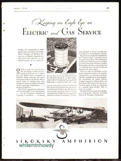 1930 SIKORSKY Northern Light Amphibion Amphibious Aircraft Antique Plane AD