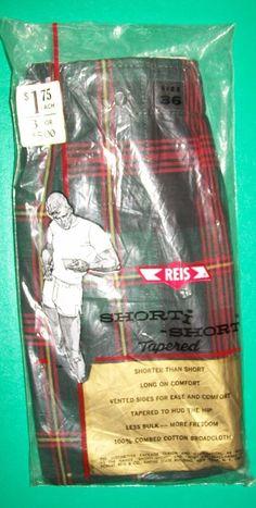 Vintage NIP Plaid Shorti Short Reis Boxer 36 Tapered Underwear 100% Cotton Green #Reis #Boxer
