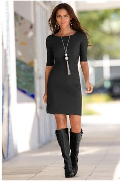 Boston Proper Elbow sleeve travel dress----> These would go perfect with my new boots!