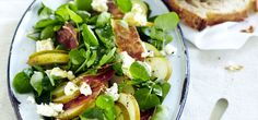Beurre Bosc Pear, Prosciutto and Goats Cheese Salad with Watercress and French Style Vinaigrette