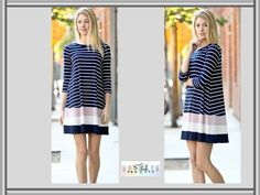 Navy Striped Contrast Tunic/Dress by My Story