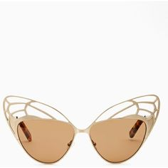 House of Harlow Scarlette Butterfly Shades ($145) ❤ liked on Polyvore featuring accessories, eyewear, sunglasses, glasses, shades, gold, cateye sunglasses, gold glasses, tortoise shell sunglasses and gold cat eye sunglasses