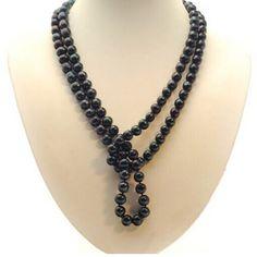 HSG Mode echte Perle in 8-9mm Damen lange Perlenkette Kette Collier schwarz 80cm, 100cm, 120cm, 160cm, 200cm - http://schmuckhaus.online/hsg/hsg-mode-echte-perle-in-8-9mm-damen-lange-kette-80cm