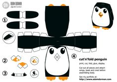 Free cut'n'fold 3D penguin model papercraft