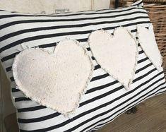 Vintage grain sack pillow/ farmhouse pillow/ Valentines Day/ hearts/ black and white stripes Fabric Crafts, Sewing Crafts, Sewing Projects, Sewing Hacks, Sewing Pillows, Diy Pillows, Throw Pillows, Valentines Day Hearts, Valentine Crafts