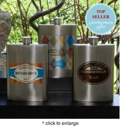 """A satiny gunmetal finish accented with one of our colorful designs give our Personalized Wingman's Flasks a hip look and feel. Ideal for anyone who enjoys imbibing now and then, this 8 oz. flask has a sturdy screw-on cap. There's one for every member of your wedding party! Choose from a preppy argyle print, the classic """"Special Reserve"""", swank Red Hot or exclusive """"Private Label"""". Measures 5"""" x 3 1/2"""" x 7/8"""". Only $32.99"""