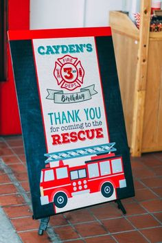 Welcome sign at a firetruck birthday party! See more party ideas at CatchMyParty.com!