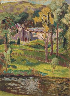 ✽ vanessa bell - 'landscape view near guildford' - 1910 - oil on paper on board - christie's
