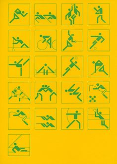 Pictogrammes des jeux Olympiques de Munich, par Otl Aicher, 1972