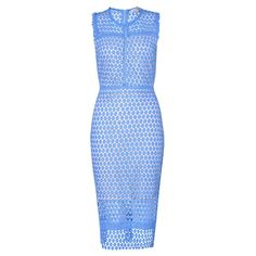 Katrina Peekaboo Lace Dress in Cornflower Blue ($76) ❤ liked on Polyvore featuring dresses, calf length dresses, lace dress, fitted lace dress, fitted dresses and fitted cocktail dresses