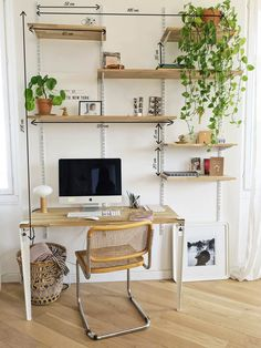 Home Office Space In Bedroom ; Home Office Space - Diy furniture minimalist Cool Office Space, Office Space Design, Office Setup, Office Organization, Diy Bureau, Blueberry Home, Home Office Decor, Home Decor, Shelves In Bedroom