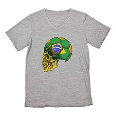e6a3058af Brazil Team Flag Skull Soccer Cup V-Neck T-Shirt