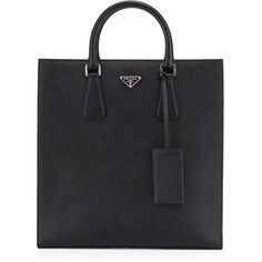Prada Black Leather Logo Tote Bag (€1.980) ❤ liked on Polyvore featuring bags, handbags, tote bags, black, black purse, zipper purse, prada handbags, zippered tote bag and black handbags