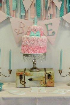 Shabby Chic Pink Ombre Rosette Birthday Cake