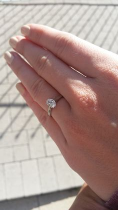 Matt surprised Abby with this gorgeous engagement ring set with a classic 0.76 Oval diamond. We Love It!