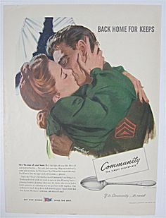 1944 Community Silver Plate W/ Woman & Soldier Kissing