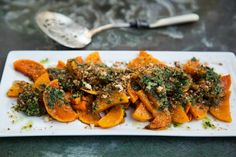 Roasted Winter Squash with Salsa Verde and Herby Breadcrumbs