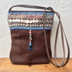 brown leather bag  leather shoulder bag  suede by KussenvanPaula